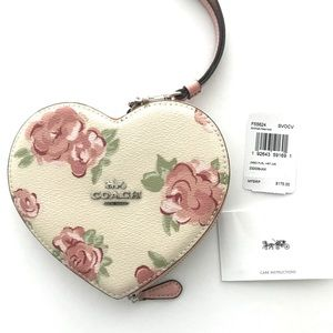 COACH Large Heart shaped floral wristlet in pink